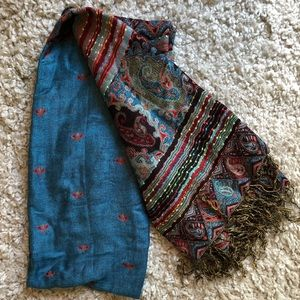 blue and orange patterned silk pashmina scarf